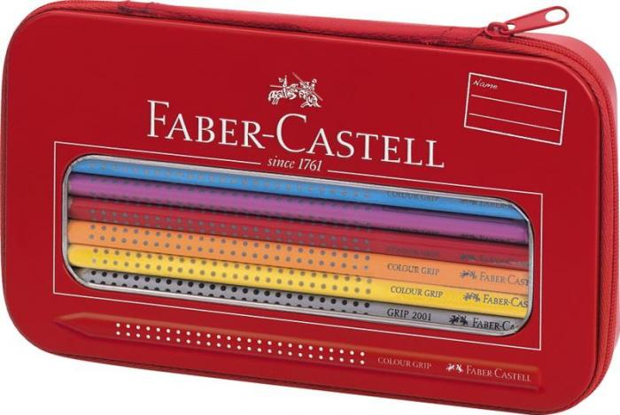 Set Cadou Desen si Pictura Colour Grip Faber-Castell - 6 creioane colorate, 1 creion Grip 2001 si 1 ascutitoare 0