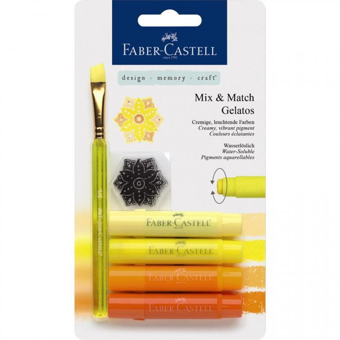 Set 4 Pasteluri Solubile Gelatos Nuante Galben Faber-Castell 0