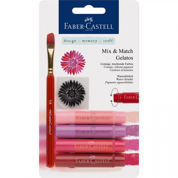 Set 4 Pasteluri Solubile Gelatos Nuante Rosu Faber-Castell 0