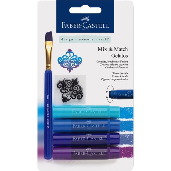 Set 4 Pasteluri Solubile Gelatos Nuante Albastru Faber-Castell 1