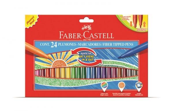Carioci Cu Varf Retractabil Faber-Castell - 24 culori 2