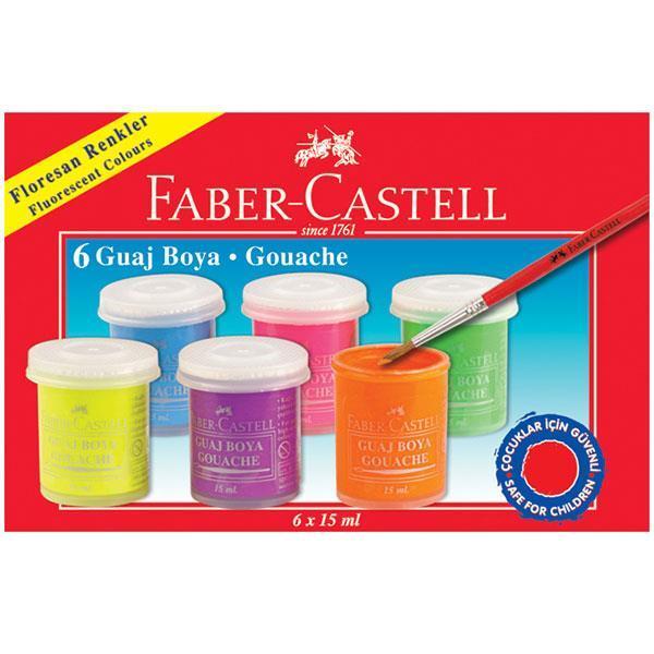 Guase Faber-Castell - 6 Culori 15 Ml Fluorescente 0