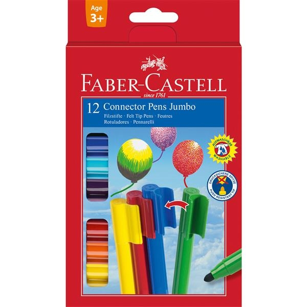 Carioca Connector Jumbo Faber-Castell - 12 culori 2