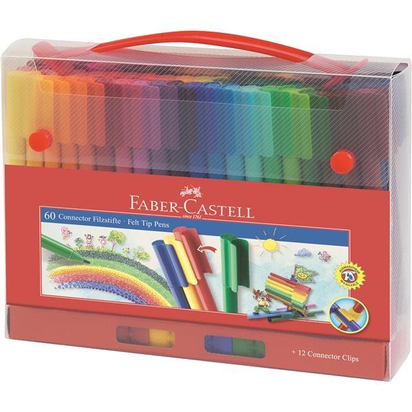 Carioca Connector  Faber-Castell - 60 Culori in Cutie Cadou 1