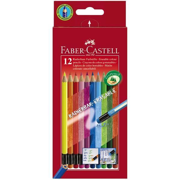 Creioane Colorate Faber-Castell - 12 Culori Cu Guma Eco  0
