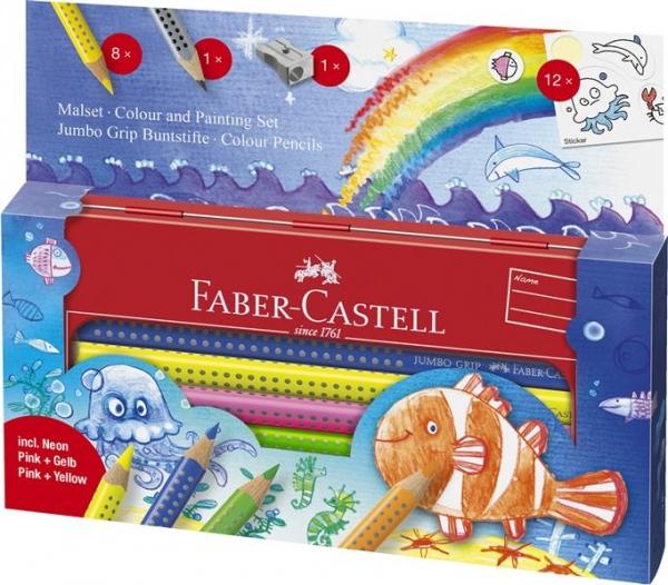 Set Cadou 8 Culori si Accesorii Jumbo Grip Ocean Faber-Castell 1