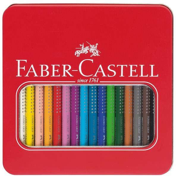 Creioane Colorate 16 Culori Jumbo Grip Cut Metal Faber-Castell 1