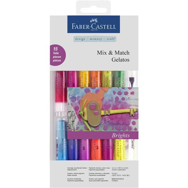 Set 12 Pasteluri Solubile Gelatos si 3 Accesorii Culori Aprinse Faber-Castell 0