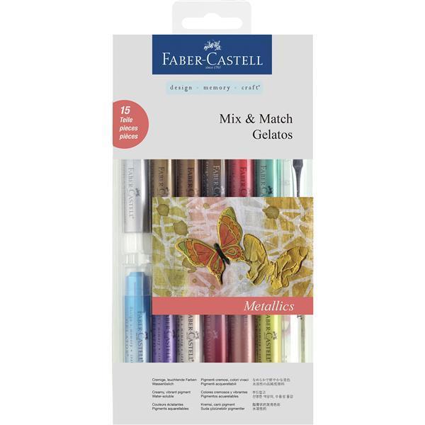 Set 12 Pasteluri Solubile Gelatos si 3 Accesorii Culori Metalice Faber-Castell 0
