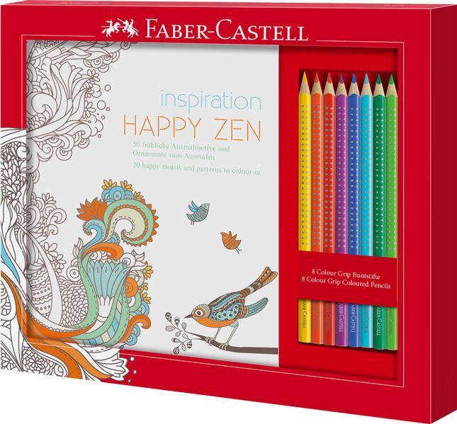 Set Cadou Happy Zen 8 Creioane Colorate Grip + Carte Colorat Faber-Castell 0