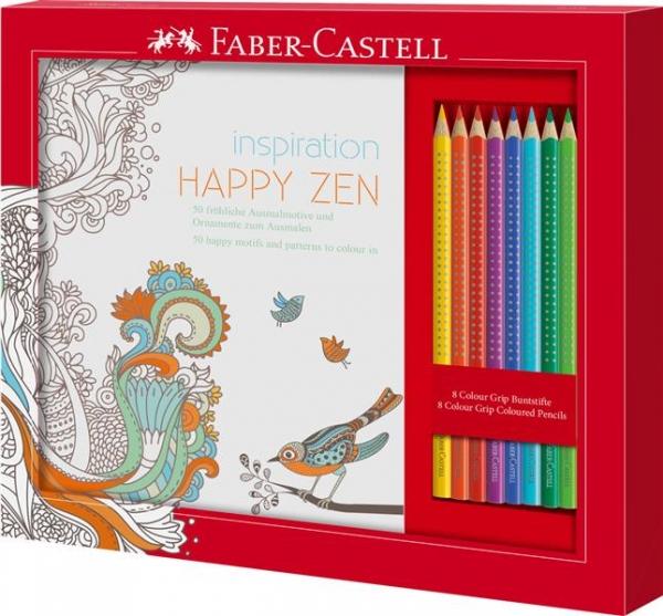 Set Cadou Happy Zen 8 Creioane Colorate Grip + Carte Colorat Faber-Castell 1