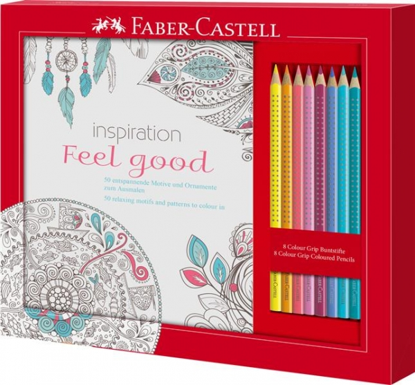 Set Cadou Feel Good 8 Creioane Colorate Grip + Carte Colorat Faber-Castell 1