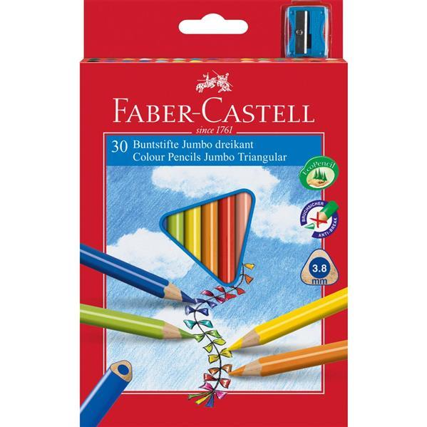 Creioane Colorate Jumbo + Ascutitoare Faber-Castell - 30 culori / cutie carton 0