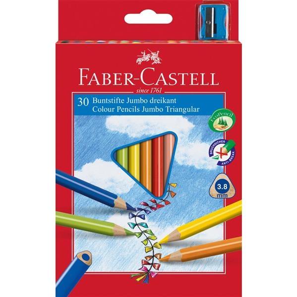 Creioane Colorate Jumbo + Ascutitoare Faber-Castell - 30 culori / cutie carton 1