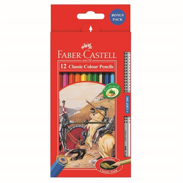 Creioane Colorate Faber-Castell - 12 Culori si 1 Grip 2001 Fighting Knights  2