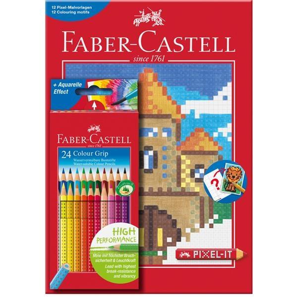 Set 24 Creioane Colorate Grip si Carte Colorat Pixel Faber-Castell 1
