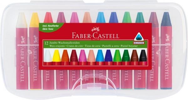 Creioane Cerate Faber-Castell - 12 Culori Jumbo Cutie Plastic  1