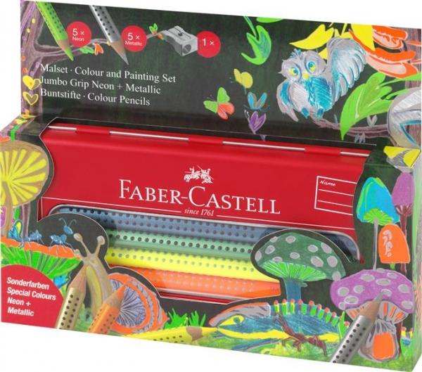 Set Cadou Grip Faber-Castell - 12 Culori Metalizate si Neon Jumbo  1