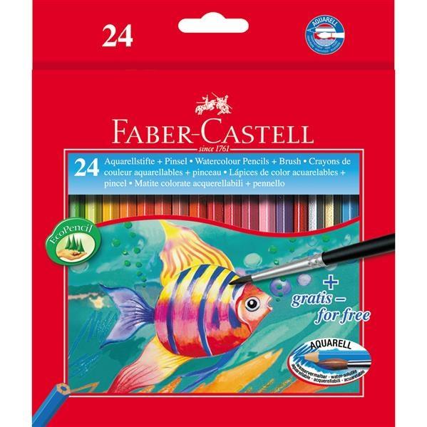 Creioane Colorate Acuarela Faber-Castell - 24 Buc si Pensula 1