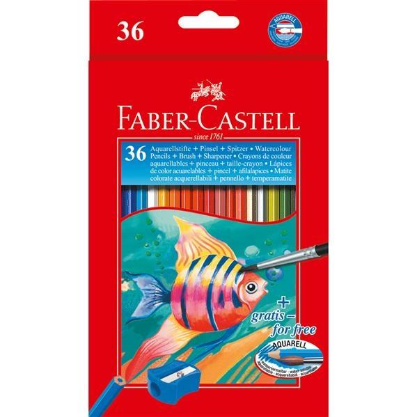 Creioane Colorate Acuarela Faber-Castell - 36 Buc si Pensula 1