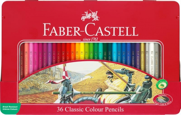 Creioane Colorate Faber-Castell - 36 culori Cutie Metal  1