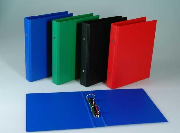 Caiet mecanic 2 inele - D25mm, coperti carton plastifiat PVC, A5, AURORA - rosu 0
