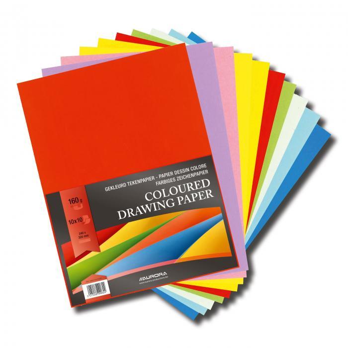 Carton color A4+, 160g/mp - 100 coli/top, AURORA Raphael -  10 culori intense 2