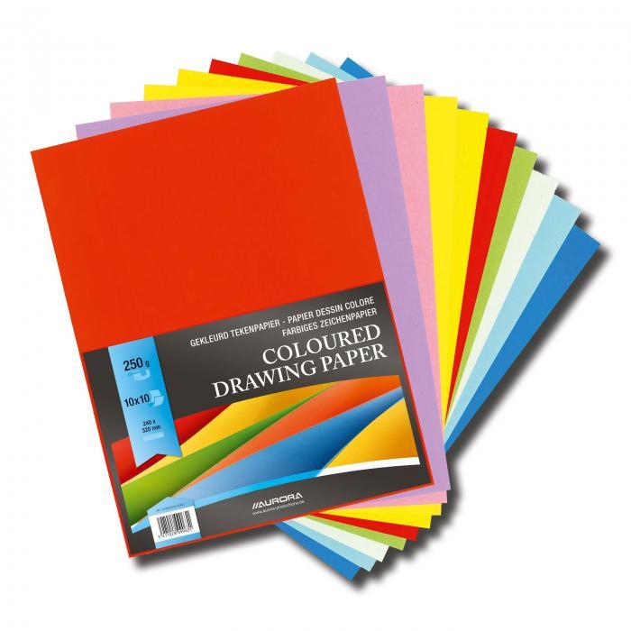 Carton color A4+, 250g/mp - 100 coli/top, AURORA Raphael -  10 culori intense 0