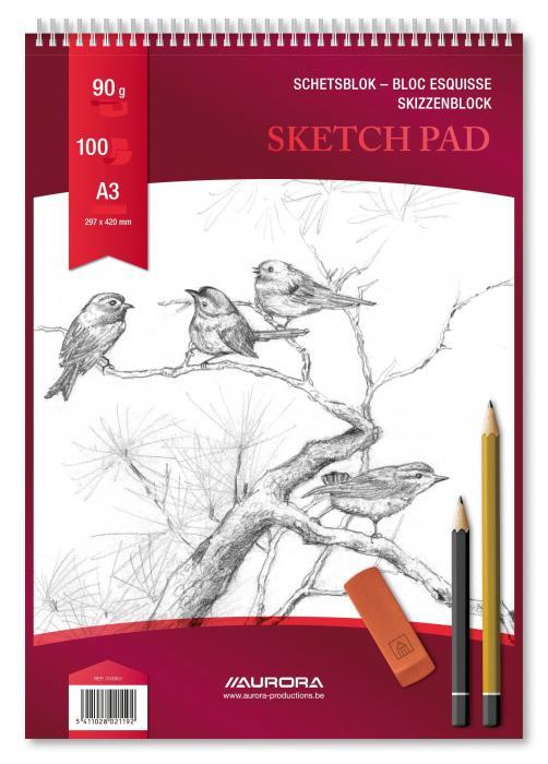 Bloc desen cu spirala, A3, 100 file - 90g/mp, pentru schite creion, AURORA Esquisse 2