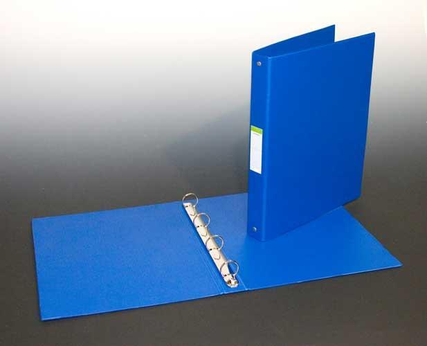 Caiet mecanic 4 inele - D25mm, coperti carton plastifiat PVC, A4, AURORA - albastru [0]