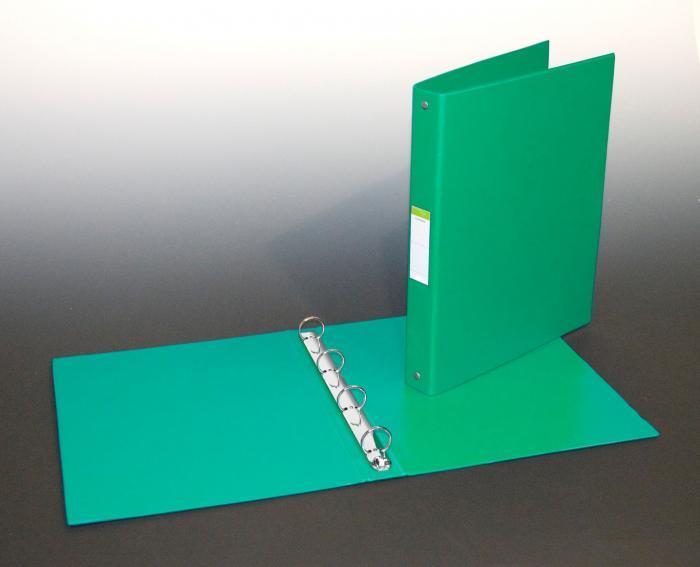 Caiet mecanic 4 inele - D25mm, coperti carton plastifiat PVC, A4, AURORA - verde [0]