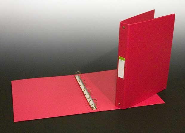 Caiet mecanic 4 inele - D25mm, coperti carton plastifiat PVC, A4, AURORA - rosu 0