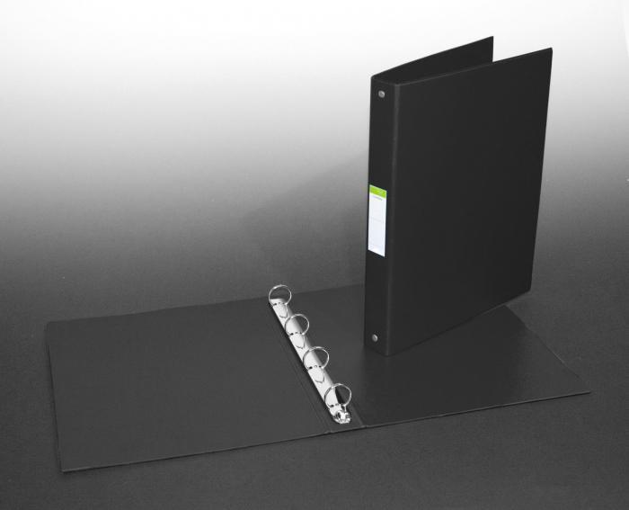 Caiet mecanic 4 inele - D25mm, coperti carton plastifiat PVC, A4, AURORA - negru [0]