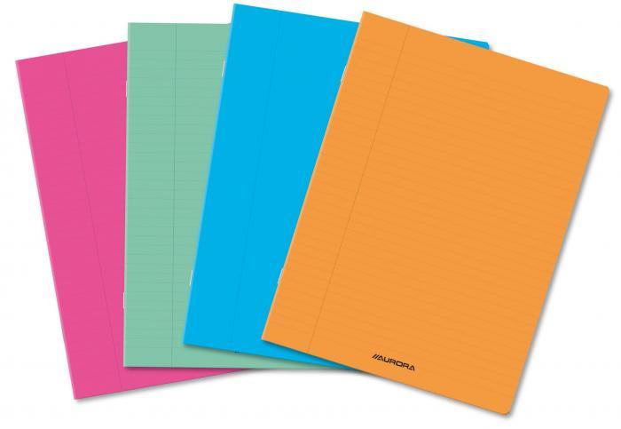 Caiet A4, 36 file - 80g/mp, liniat stanga, coperta PP transparent color, AURORA - matematica 2