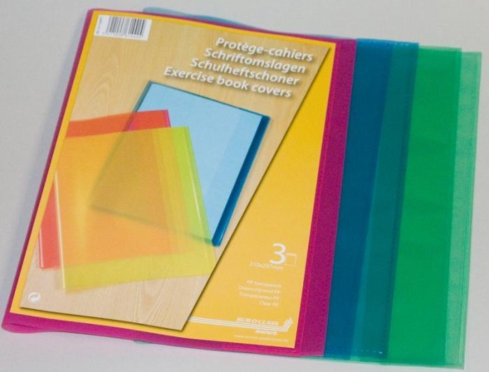 Coperta PP - 120 microni, pentru caiet A4, 3 buc/set, AURORA - transparent color asortate 0