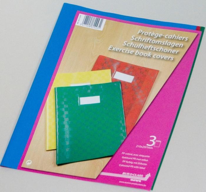 Coperta PP - 120 microni, cu eticheta, pentru caiet A4, 3 buc/set, AURORA - culori asortate 0