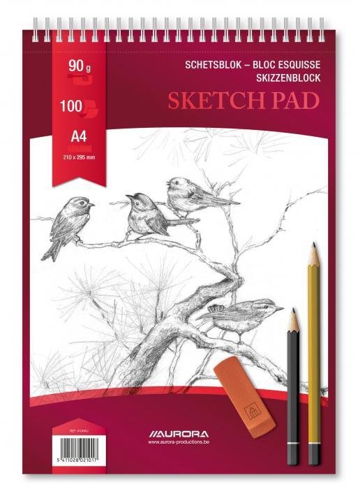 Bloc desen cu spirala, A4, 100 file - 90g/mp, pentru schite creion, AURORA Esquisse 2