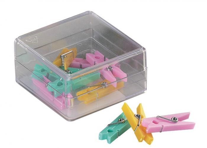 Clesti din plastic cu arc, pentru prindere, 32mm, 10 buc/cutie, ALCO - culori asortate 0