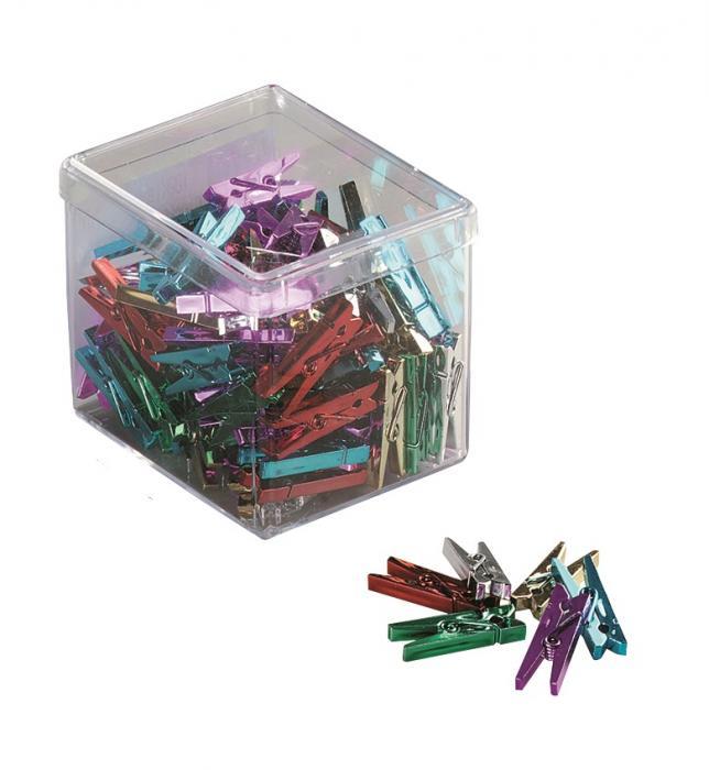 Clesti din platic cu arc, pentru prindere, 25mm, 20 buc/cutie, ALCO - culori asortate metalizate 0