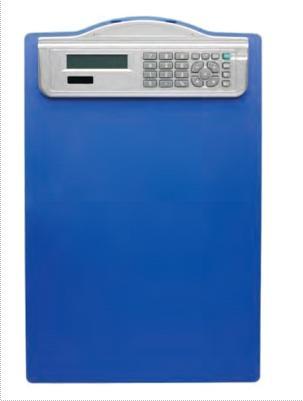 Clipboard simplu A4, din plastic rigid, cu calculator, ALCO - albastru 0