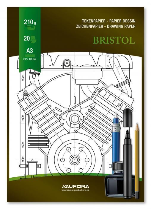 Bloc desen A3, 20 file - 210g/mp, pentru schite creion/marker, AURORA Bristol 2