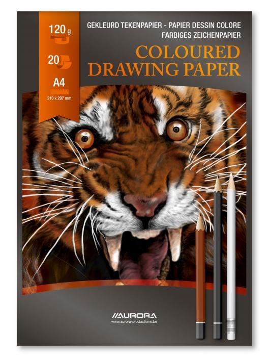 Bloc desen A4, 20 file - 120g/mp, AURORA Raphael - hartie culori asortate 2