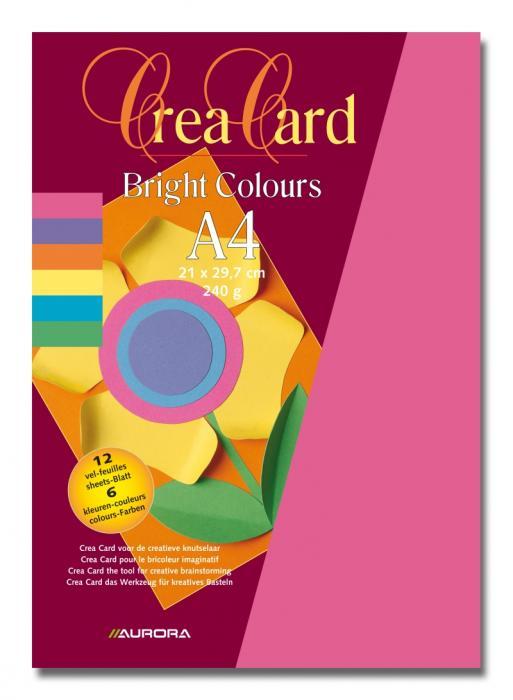 Carton color A4, 240g/mp - 12coli/set, AURORA Raphael -  6 culori intense [2]