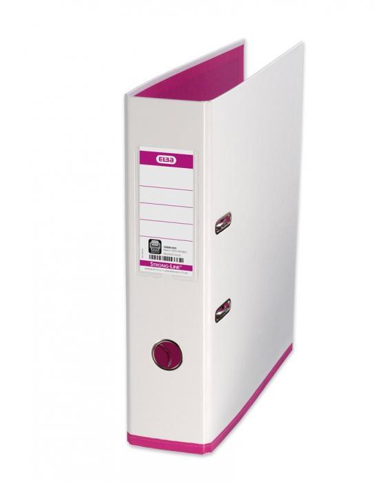 Biblioraft A4, plastifiat PP/PP, 80 mm, ELBA MyColour - alb/alb/roz 0