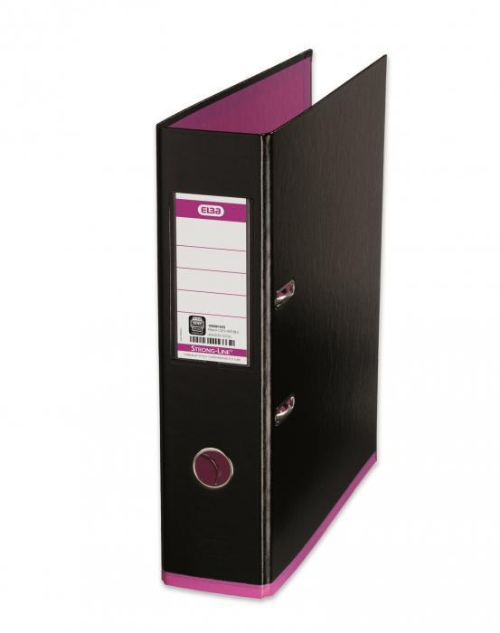 Biblioraft A4, plastifiat PP/PP, 80 mm, ELBA MyColour - negru/roz [0]