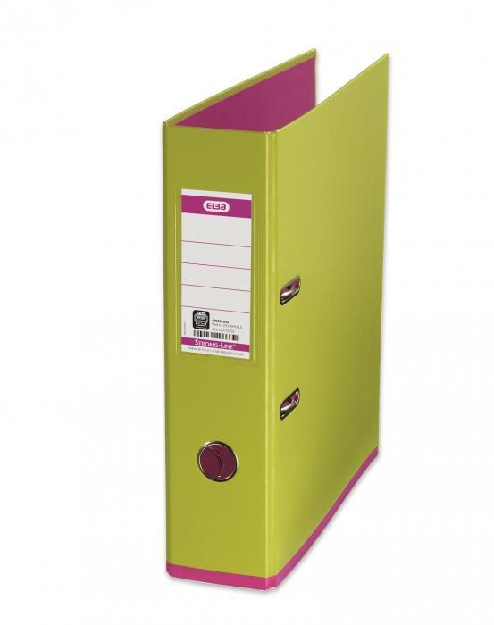 Biblioraft A4, plastifiat PP/PP, 80 mm, ELBA MyColour - verde deschis/roz [0]