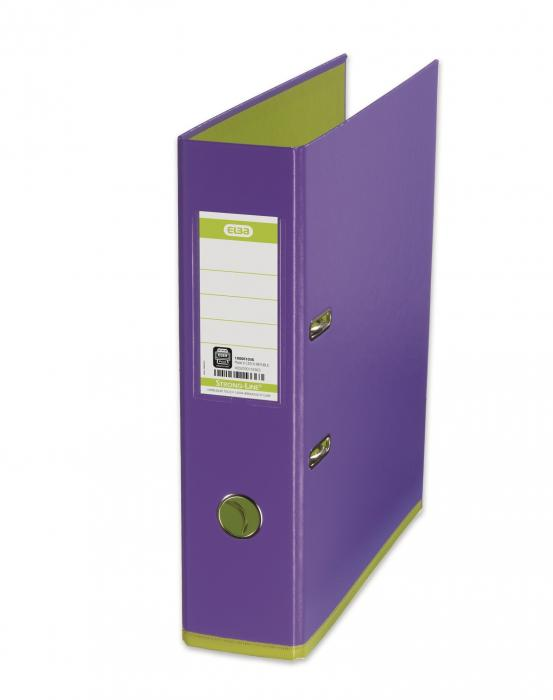 Biblioraft A4, plastifiat PP/PP, 80 mm, ELBA MyColour - violet deschis/verde deschis 0