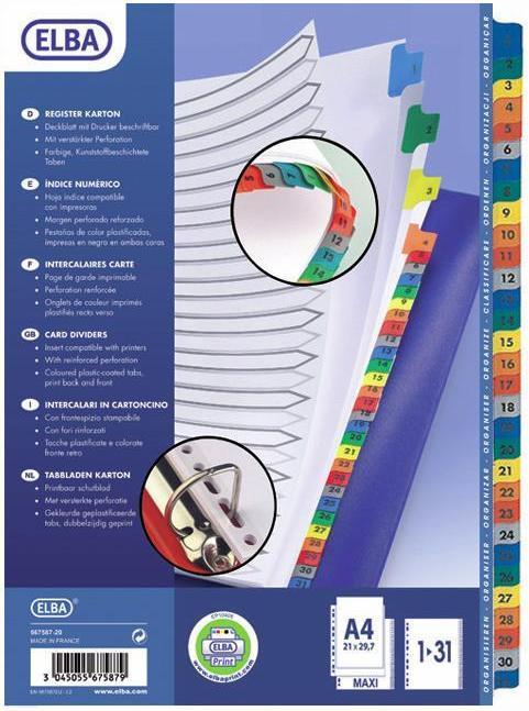 Index carton alb Mylar numeric 1-31, margine PP color, A4 XL, 170g/mp, ELBA 0