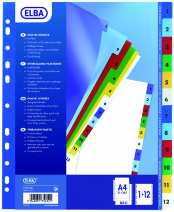 Index plastic color numeric 1-12, A4 XL, 120 microni, ELBA [0]