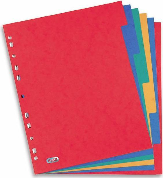Separatoare carton color, A4 XL, 225g/mp,  6 culori/set, ELBA [0]